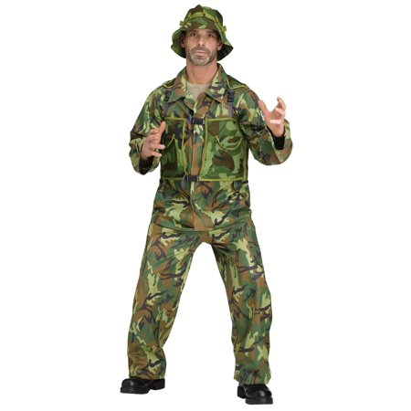 Army Costume Men (Costume Suit Special Force Army Military Camo Camouflage Jumpsuit Adult)