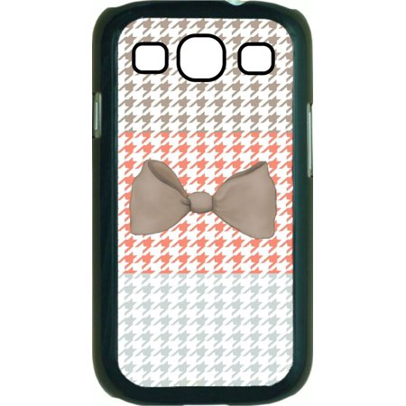 Colorblock Houndstooth-Light Brown Bow  Hard Black Plastic Case Compatible with the Samsung Galaxy s3 i9300 Phone (Bow Bumper For Galaxy S3)