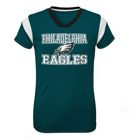 Girls Youth Midnight Green Philadelphia Eagles Team V-Neck Jersey ()