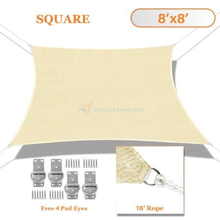 Sunshades Depot Sun Shade Sail Rectangle Tan Beige 180GSM Permeable Canopy Customize Size Available Commercial For Patio Garden Preschool Kindergarten Playground Outdoor Facility Activities ()