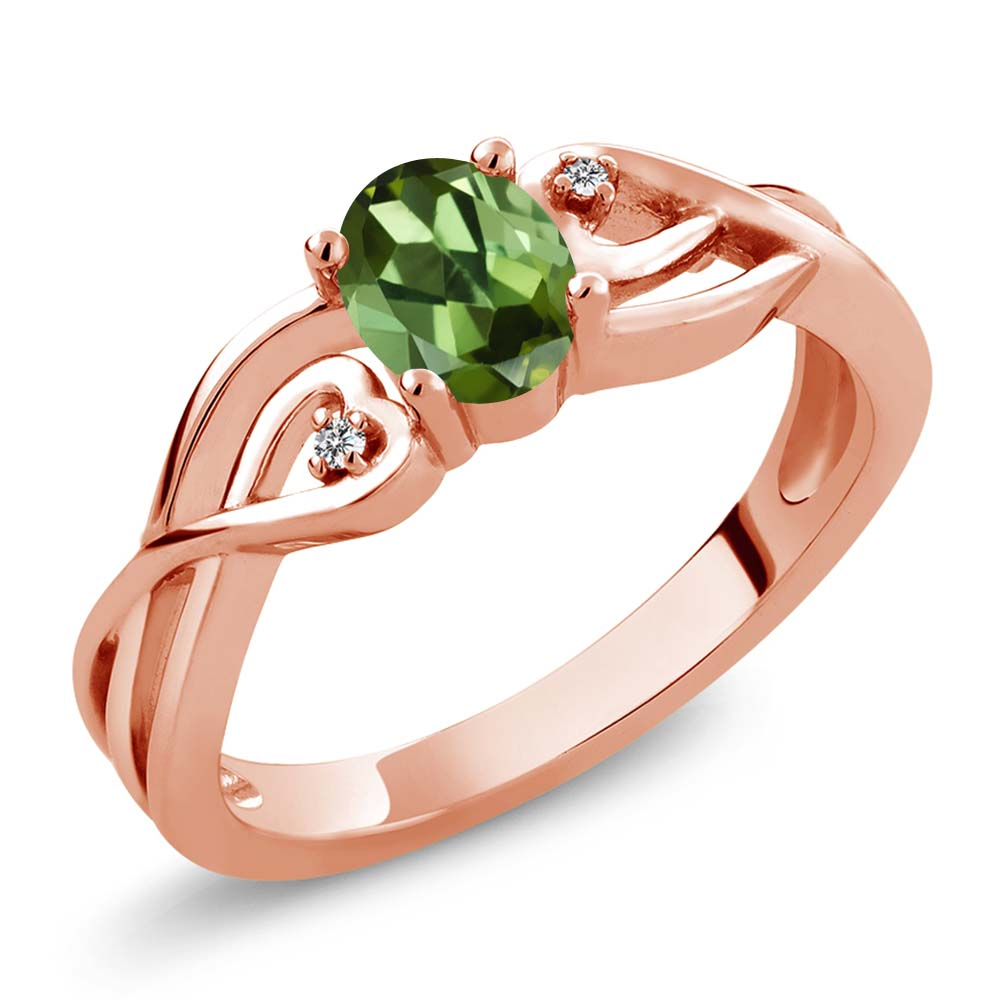 0.51 Ct Oval Green Tourmaline White Diamond 18K Rose Gold Plated Silver Ring by