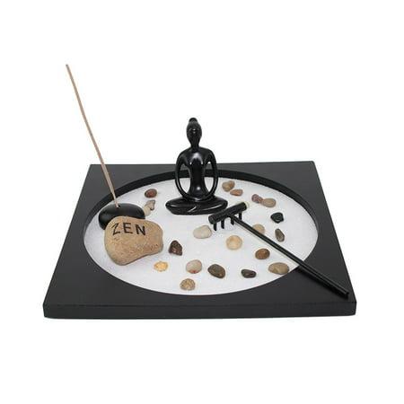 Tabletop Taiji Buddha Zen Garden Sand Rock Incense Burner Gift & Home Decor -D (Sand Rock Garden)