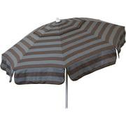 DestinationGear Euro 6' Umbrella Cabana Stripe Steel Grey and Chocolate Beach Pole