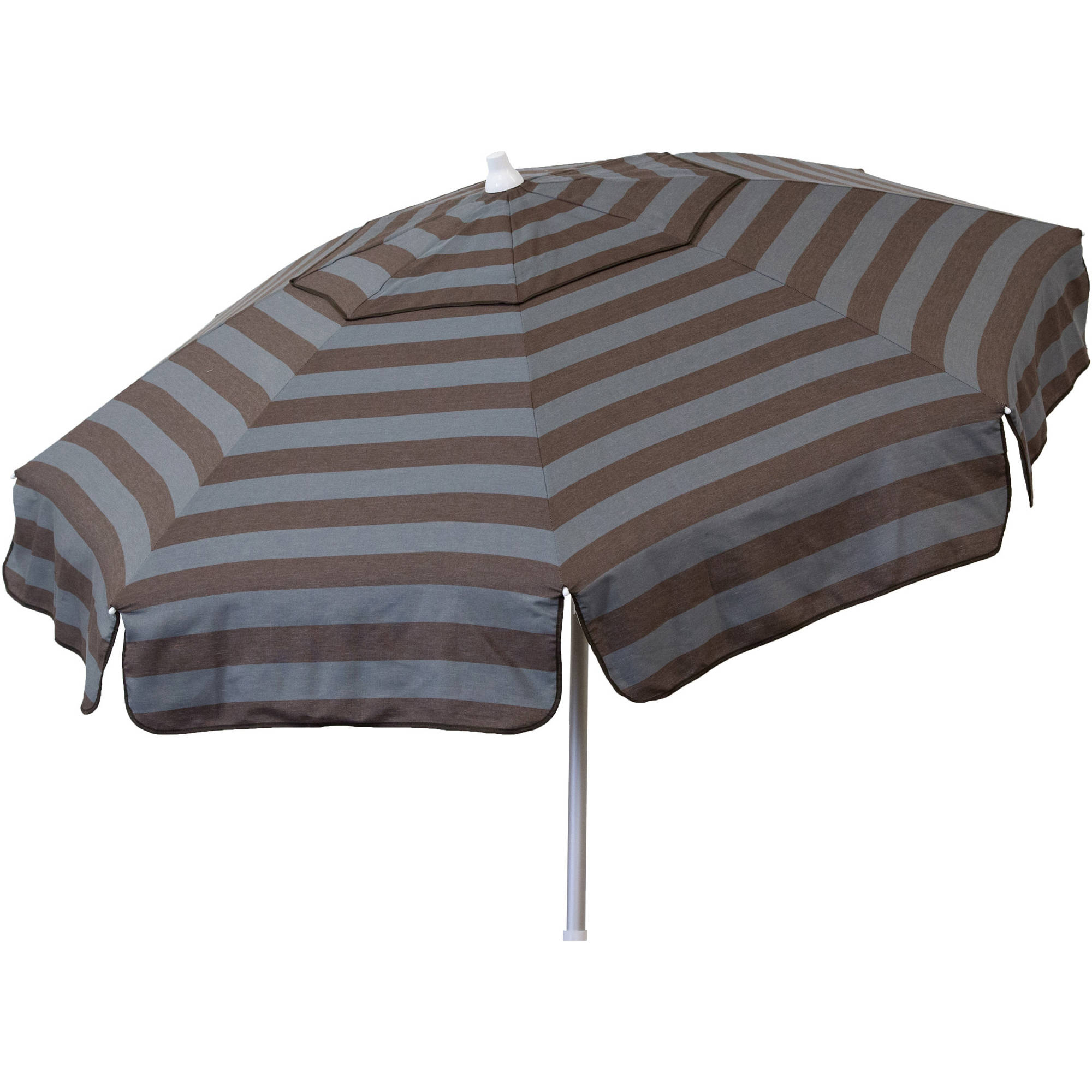 DestinationGear Euro 6' Umbrella Cabana Stripe Steel Grey and Chocolate Beach Pole