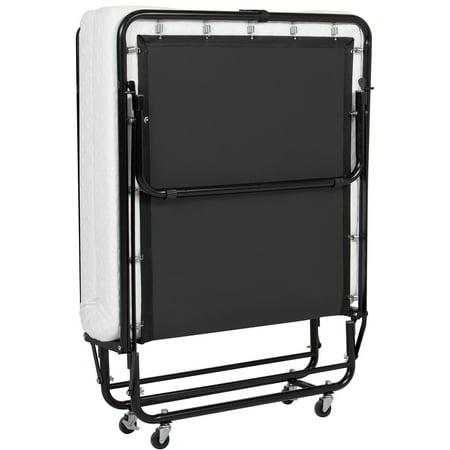 Best Choice Products Folding Rollaway Twin XL Sized Mattress Guest Bed w/ 4in Memory Foam, Locking Wheels. Steel Frame  -