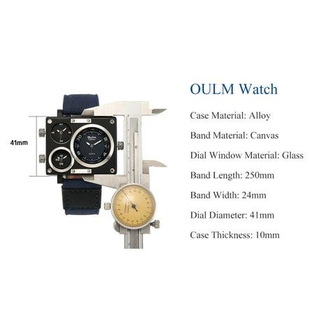 Montre-bracelet à quartz à bande de toile de luxe pour homme d'affaires OULM - image 5 de 7