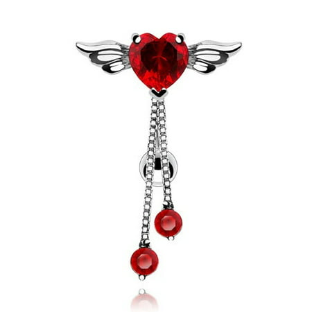 Belly Button Ring Reversed Angel Winged Heart Navel  Round CZ Dangle 14
