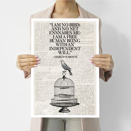Visionary Prints 'A Free Bird' | Typography, Text Wall Art - Inspirational  Typography, Newspaper | Modern Contemporary Poster Print, 13x19 inch