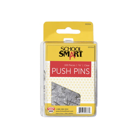 School Smart Push Pin for Bulletin Boards, 3/8 in L, 1/2 in Head, Plastic Head/Steel Point, Clear, Pack of - Pumpkin Push Pins