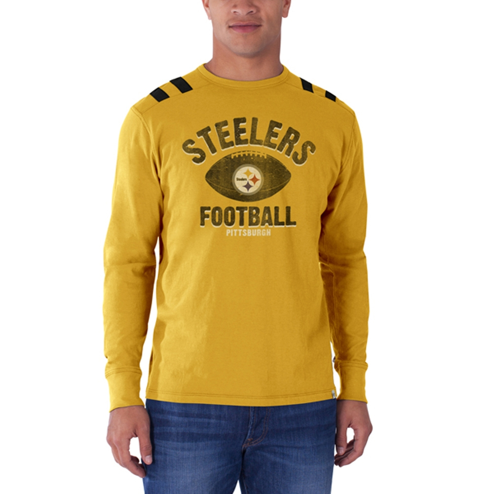 Pittsburgh Steelers - Football Logo Bruiser Premium Long Sleeve T-Shirt