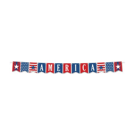 "Club pack of 12 Red, White and Blue 4th of July ""AMERICA"" Pennant Streamer 8'"