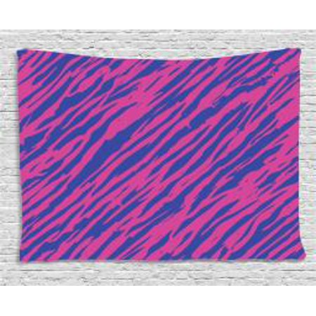 Pink Zebra Tapestry, Retro Design Grunge Abstract Murky Zebra Stripes with Wavy 80s Style, Wall Hanging for Bedroom Living Room Dorm Decor, 60W X 40L Inches, Cobalt Blue Fuchsia, by Ambesonne](80s Room Decor)