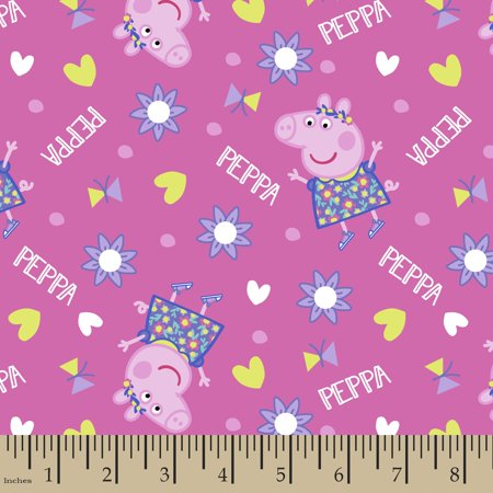 Peppa Pig Toss Fabric by the Yard