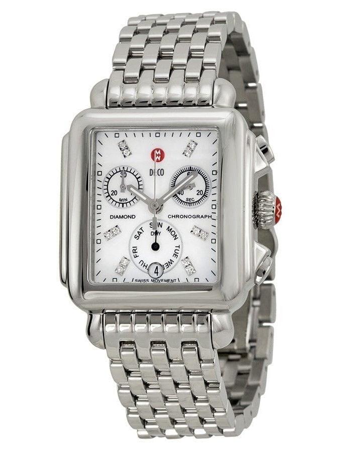 Michele  Women's MWW06P000014 'Deco' Chronograph Diamond Stainless Steel Watch