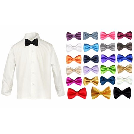 Baby Boy Formal Tuxedo Suit White Button Down Dress Shirt Color Bow tie SM-4T - White Dress Shirt Boys