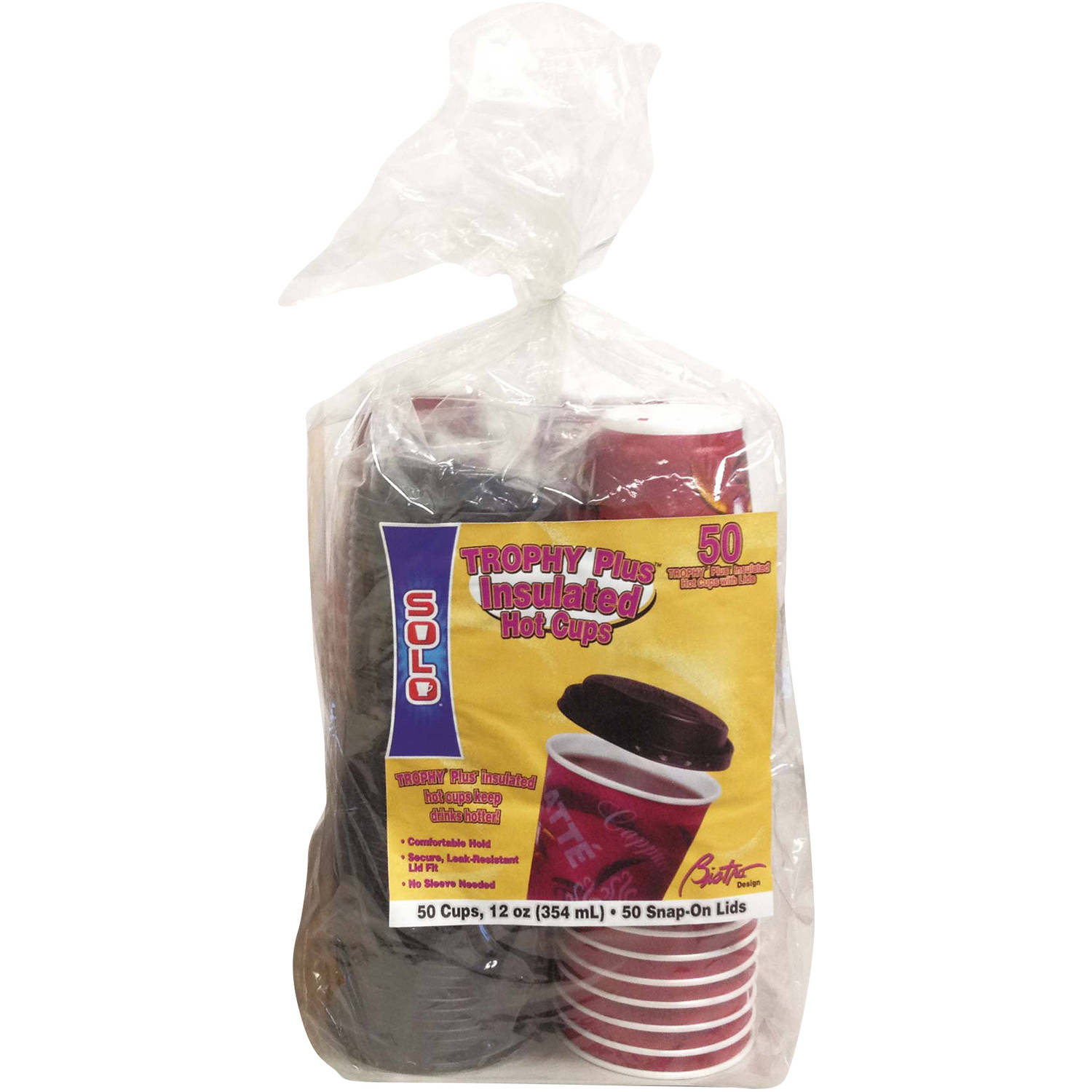Solo Trophy Plus 12 Oz Insulated Hot Cups with Snap-on Lids, Maroon, 300 count