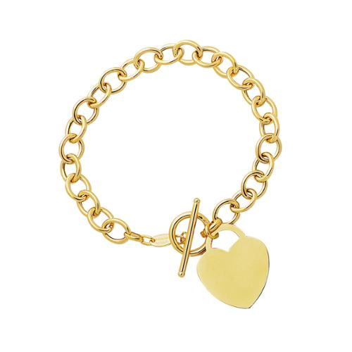 14K Yellow Gold Heart Charm Toggle Bracelet by Overstock