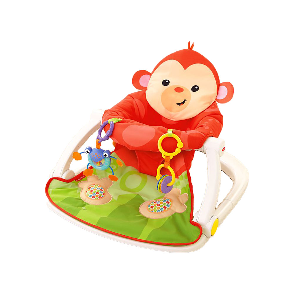 Fisher Price Deluxe Sit Me Up Monkey Floor Baby Activity Play Seat with Toys