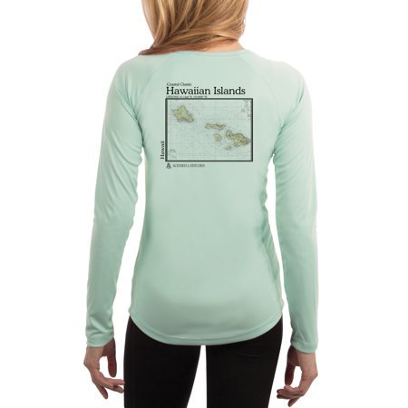Hawaiian Islands Chart Women's UPF 50+ Sun Protection Long Sleeve T-shirt XX-Large Seagrass
