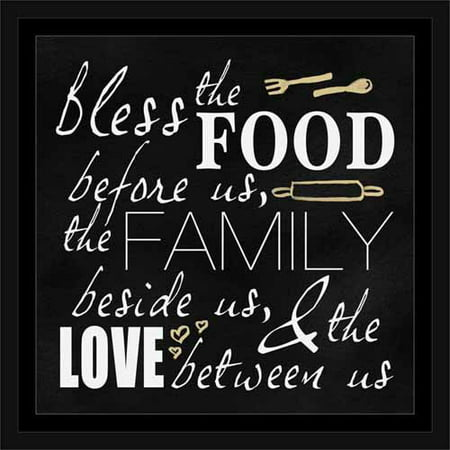 Bless Food Family And Love Kitchen Typography Black White Framed