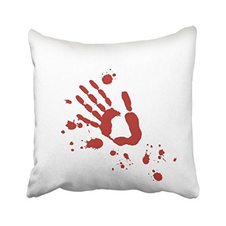 WinHome Abstract Real Bloody Hand Print Blood Spatter Pattern Halloween Polyester 18 x 18 Inch Square Throw Pillow Covers With Hidden Zipper Home Sofa Cushion Decorative Pillowcases](Halloween Handprints)