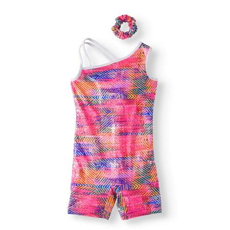 Danskin Now - Girls  Time Warp Print Gymnastics Biketard with Hair ... 72dc5529604