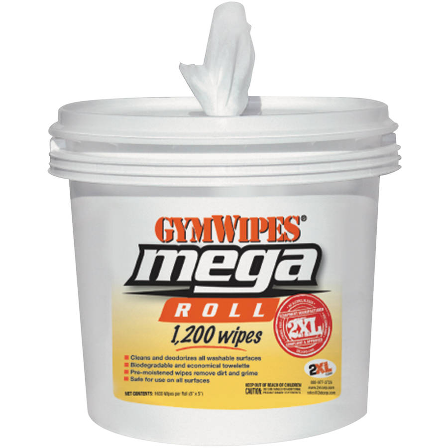 2XL GymWipes Mega Roll Gym Wipes, 1200 count, (Pack of 2)