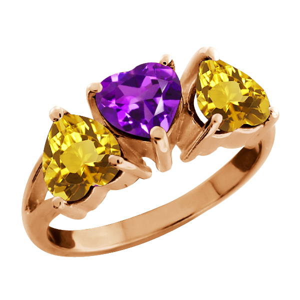 2.18 Ct Heart Shape Purple Amethyst and Citrine Gold Plated Silver 3-Stone Ring