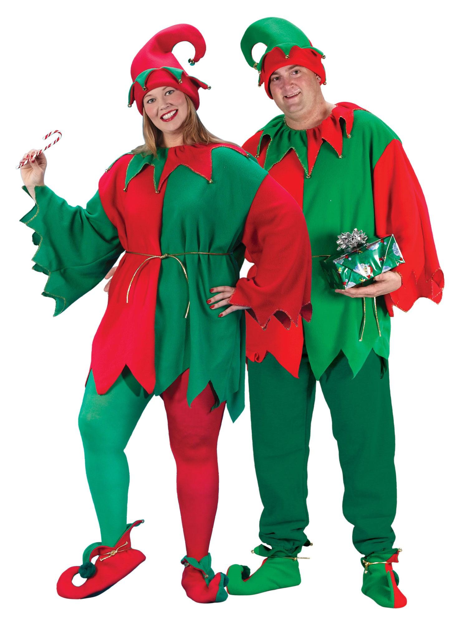 0f87dc6ac07 Elf Set Adult Costume Shoes Hat Christmas Red Green Santa's Helper Unisex XL