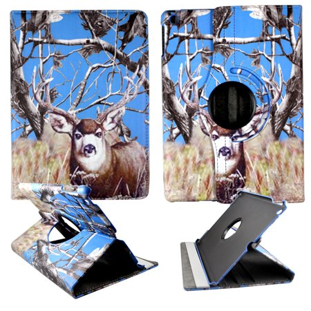 Blue Deer Camo Apple Ipad Air / Ipad 5 PU Leather Folding Tablet 360 Rotating Case Cover Attractive Hard Phone Case Snap-on Cover Rubberized Touch Faceplates