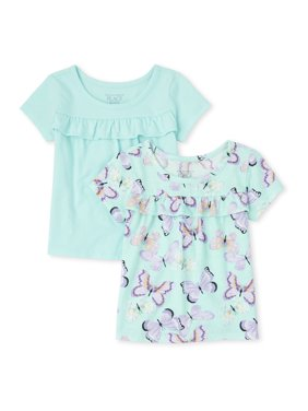 The Children's Place Baby & Toddler Girl Short Sleeve Ruffle Front Solid & Printed T-Shirt, 2 Pack