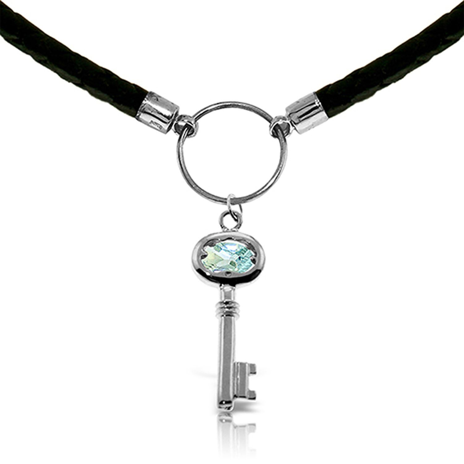 ALARRI 0.5 CTW 14K Solid White Gold Leather Key Necklace Aquamarine with 18 Inch Chain Length. by ALARRI