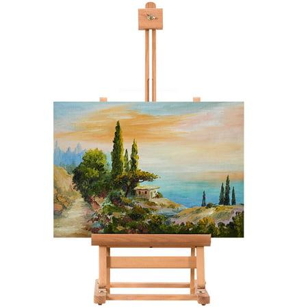 Costway Portable Wood Tabletop Easel H-Frame Adjustable Artist Painting Display Studio ()