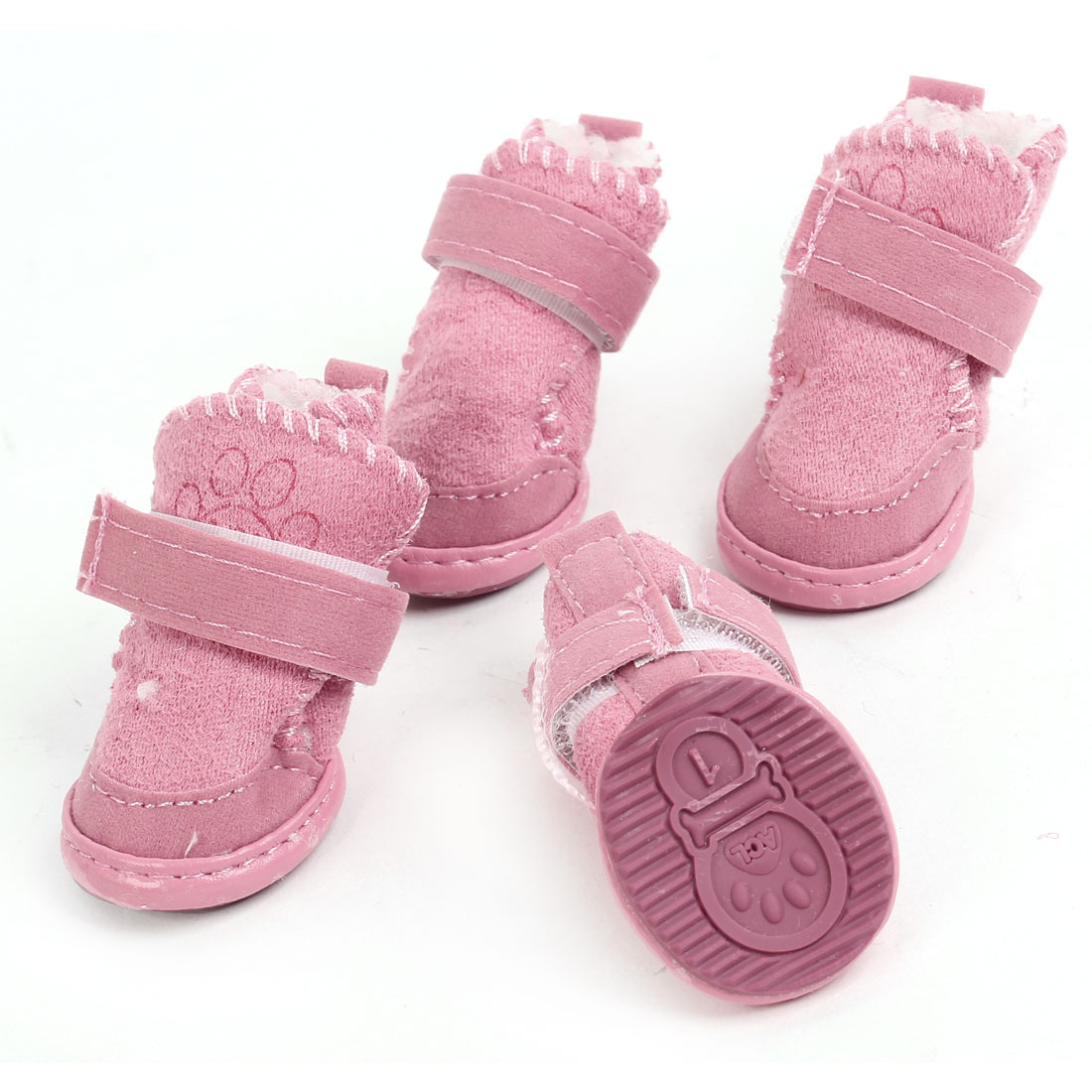 2 Pairs Pink Paw Print Nonslip Sole Detachable Closure Pet Dog Shoes Boot XXS - image 1 of 1