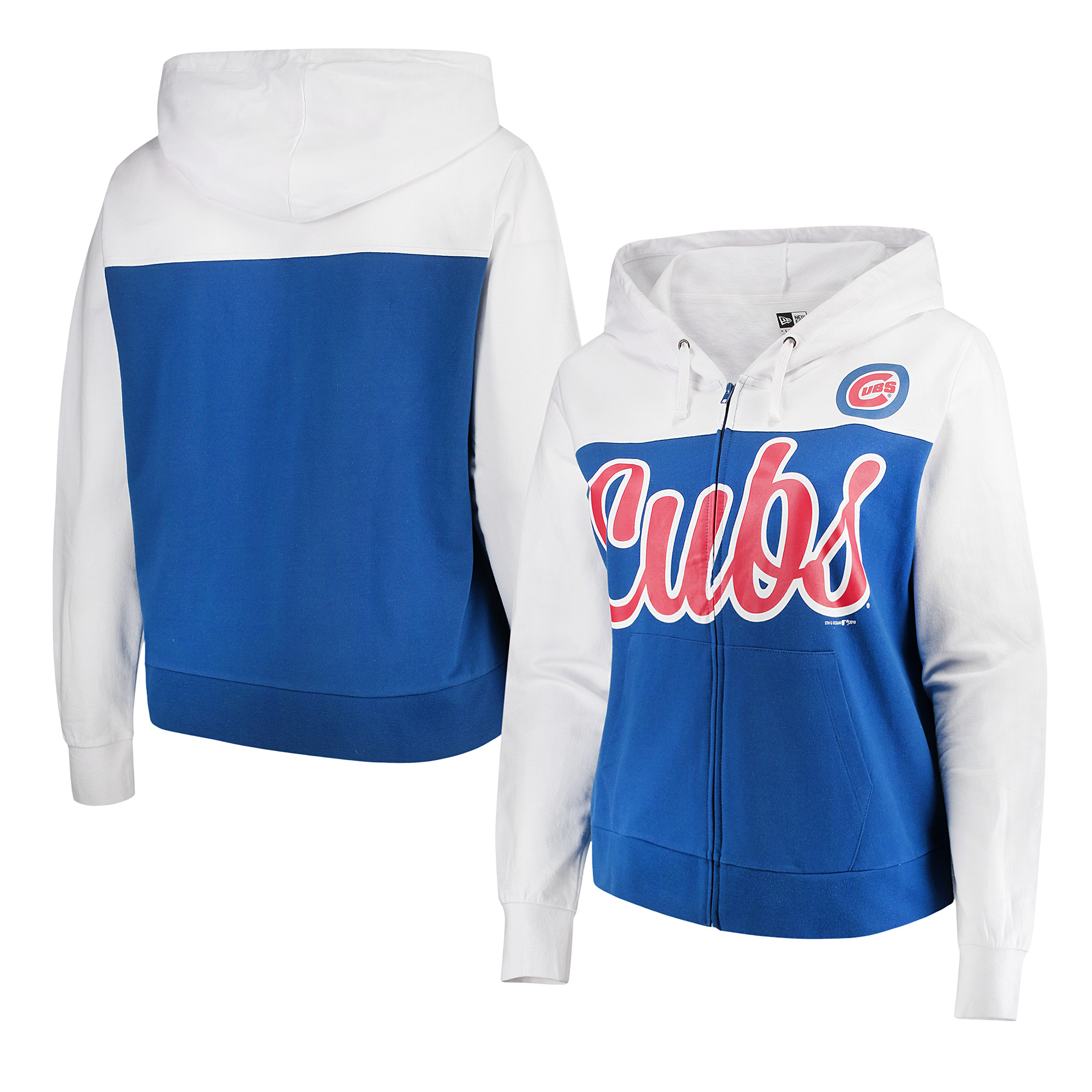 Chicago Cubs 5th & Ocean by New Era Women's Plus Size French Terry Color Block Full-Zip Hoodie - Royal/White