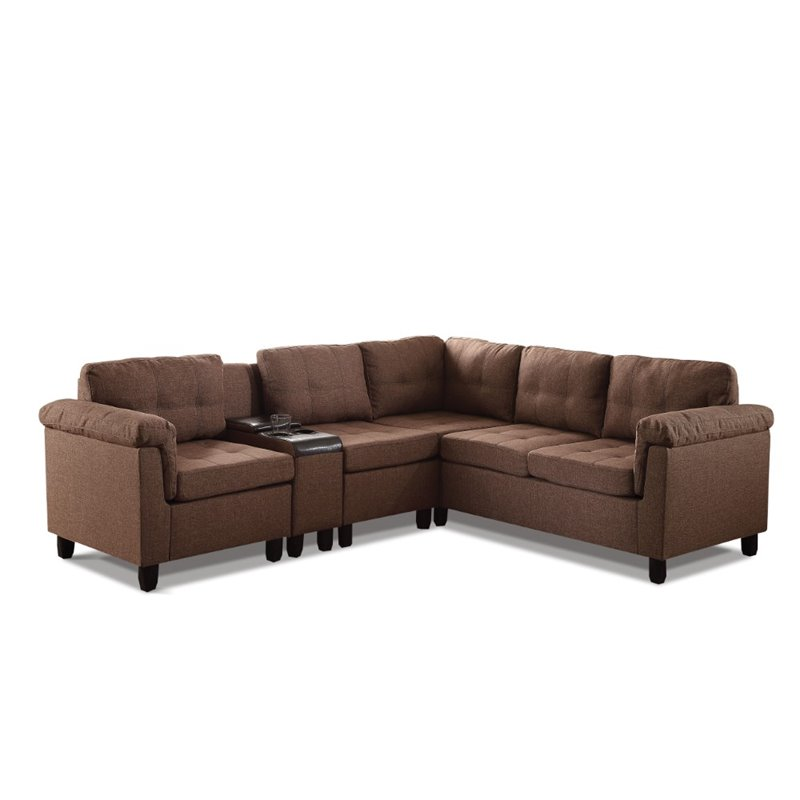 ACME Furniture Cleavon Reversible Linen Sectional with Console by Acme Furniture