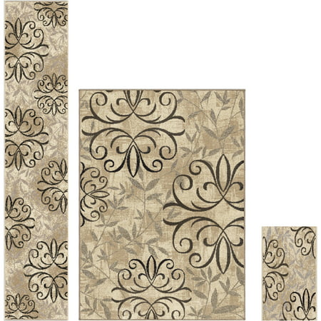 Better Homes and Gardens Iron Fleur 3-Piece Area Rug Set - Rug Set
