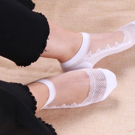 Outtop Summer Women Ladies Sheer Silky Glitter Transparent Short Stockings Ankle Socks