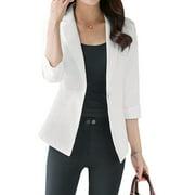 Woman Mock Pockets Front Cuffed-Sleeve Slim Fit Blazer White L
