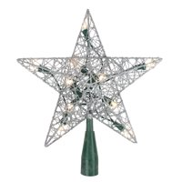"""9"""" Lighted Silver Wire Star Christmas Tree Topper- Clear LED Lights"""