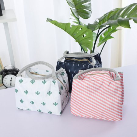 Insulated Lunch Bag Warm Cooler Box Tote Carry Bag w Zipper Pink Stripe Pattern - image 3 of 7