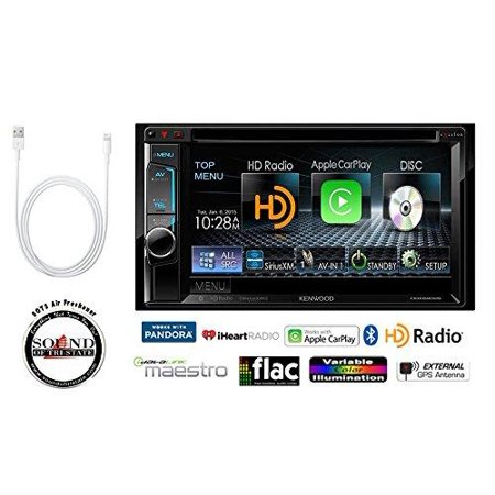 (kenwood ddx6902s in dash double din 6.2 dvd cd receiver with apple car play and lightning to usb adapter + free sots air freshener)