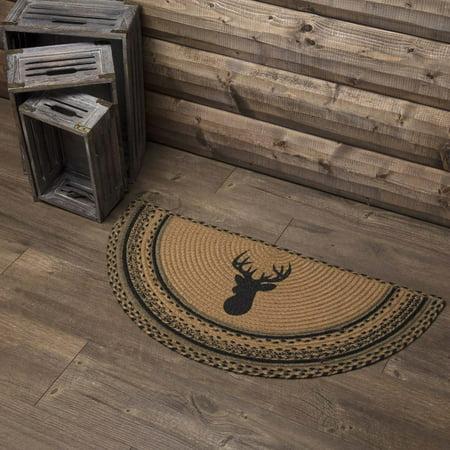 Dark Tan Rustic & Lodge Flooring Mounted Trophy Jute Stenciled Nature Print Half Circle Accent Rug