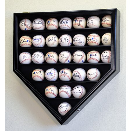 30 Baseball Display Case Cabinet Holder Rack Home Plate Shaped w/98% UV Protection- Lockable Baseball Cabinet Style Display Case