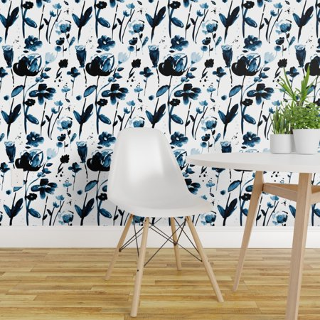 Peel and Stick Removable Wallpaper Prairie Floral Indigo White Fable G