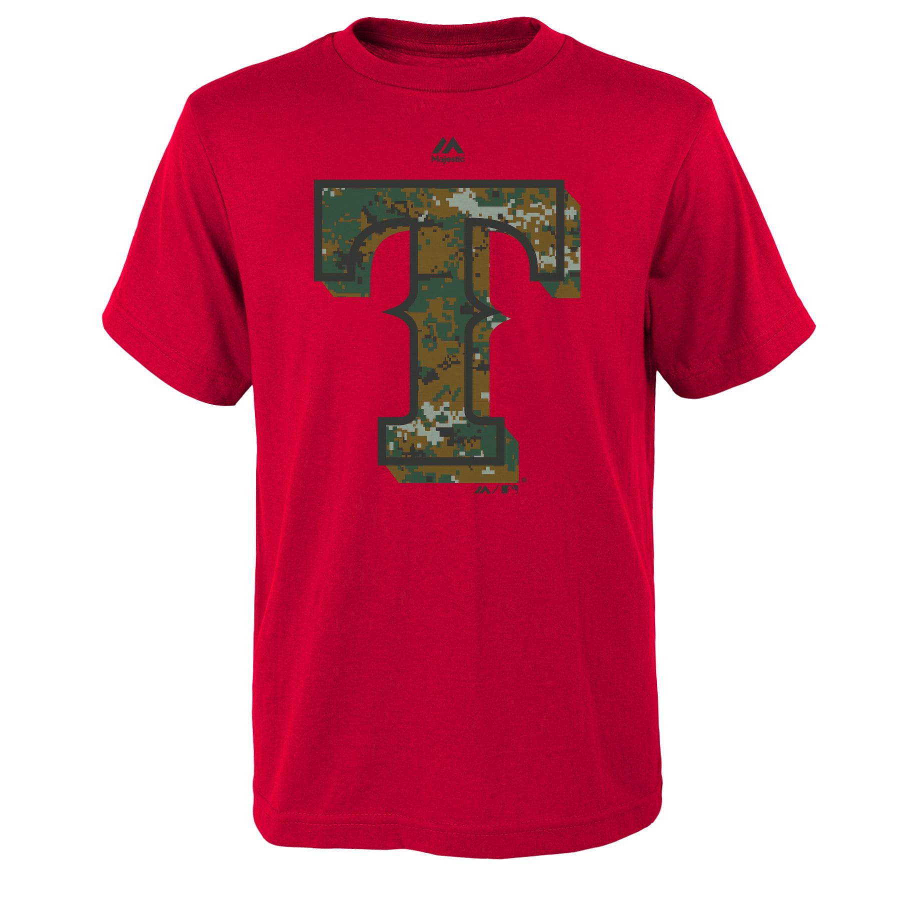 Texas Rangers Majestic Youth USMC Woodland Camo Logo T-Shirt - Royal