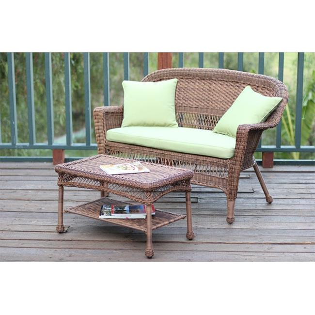 Jeco Honey Wicker Patio Love Seat And Coffee Table Set With Cushion