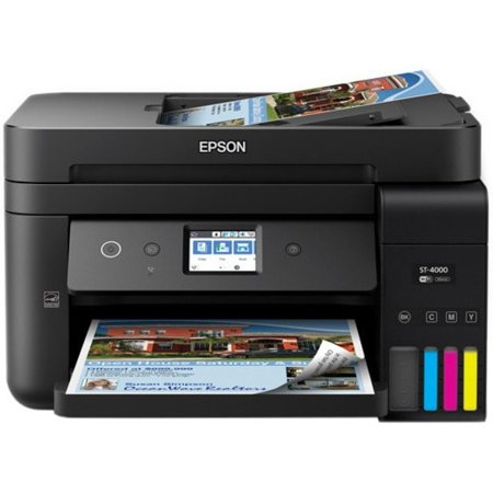 Epson Workforce ST-4000 Color Multifunction Supertank Wireless Printer With Cartridge-Free Printing, Touchscreen and ADF/Fax