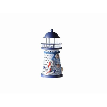 LED Lighted Decorative Metal Lighthouse with Anchor (Two Lights Lighthouse)