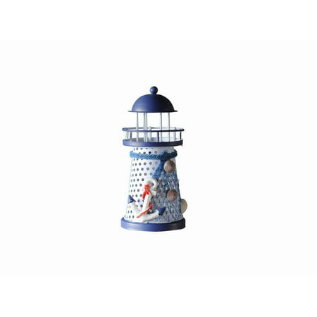 LED Lighted Decorative Metal Lighthouse with Anchor